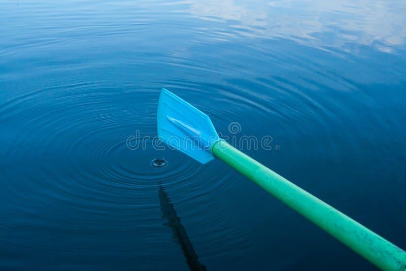 Pagaia blu in acqua immagini stock