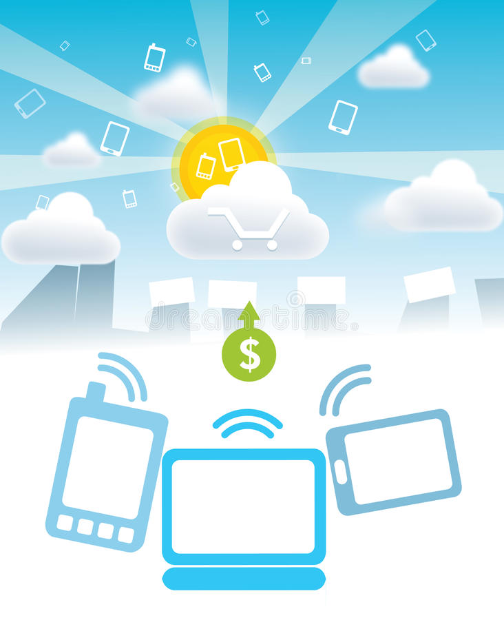 Pagamenti del cellulare delle nuvole illustrazione di stock