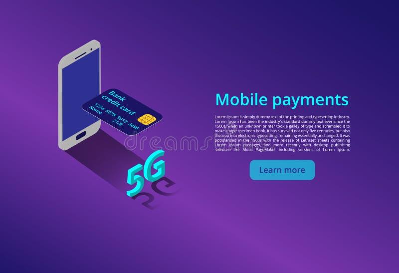 Pagamenti mobili nuovo collegamento senza fili di wifi di Internet 5G concetto isometrico di vettore con l'illustrazione della re illustrazione vettoriale