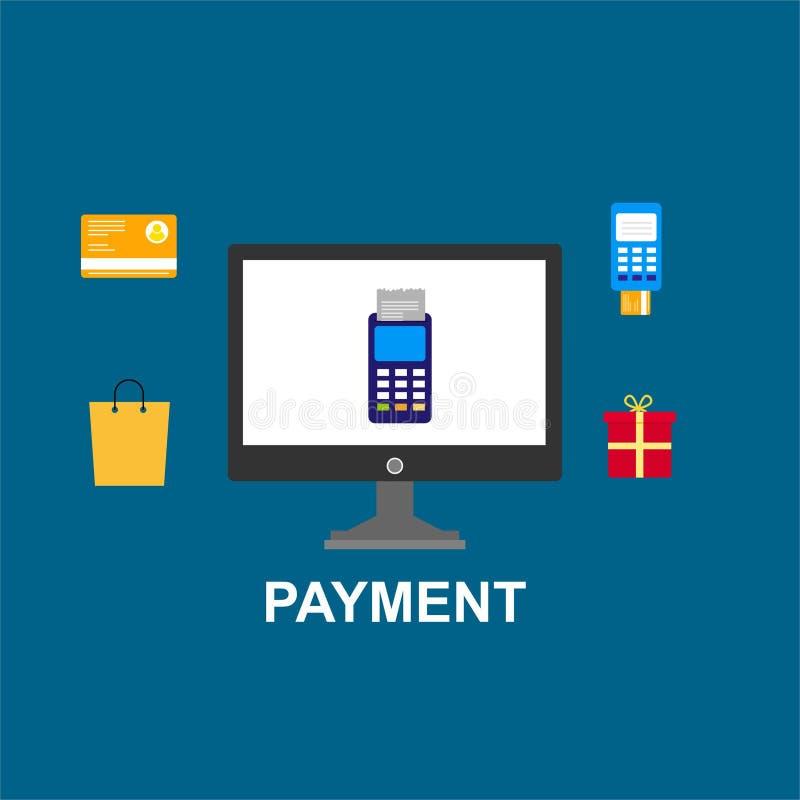 Pagamenti online e mobili di concetto per la pagina Web, media sociali, documenti, carte, manifesti Terminale di posizione dell'i illustrazione di stock