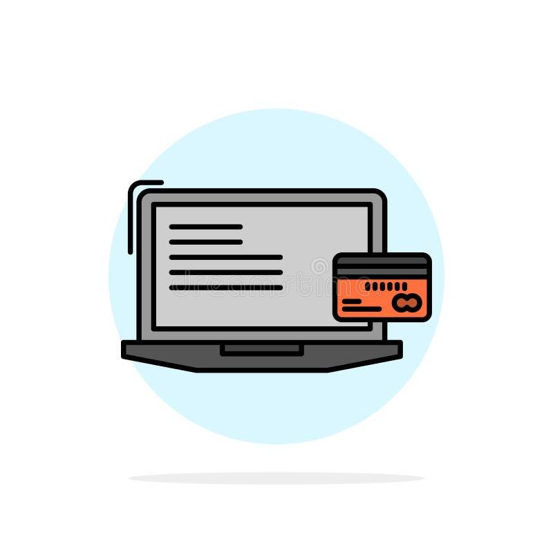 Pagamento, affare, computer, carta di credito, icona piana di colore di pagamento dell'estratto del fondo online del cerchio illustrazione vettoriale
