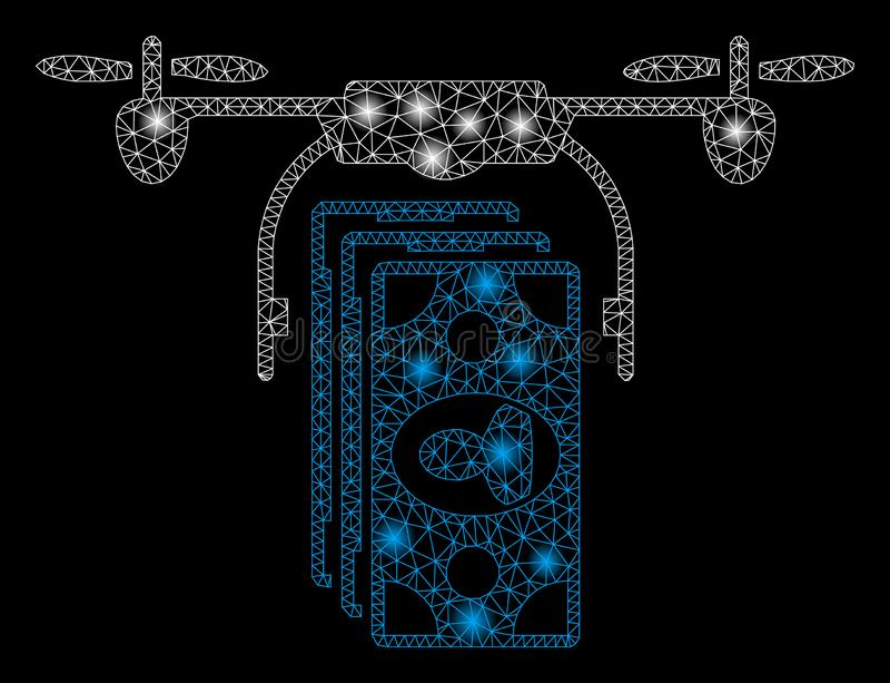 Pagamento brilhante de Mesh Wire Frame Drone Banknotes com pontos claros ilustração royalty free