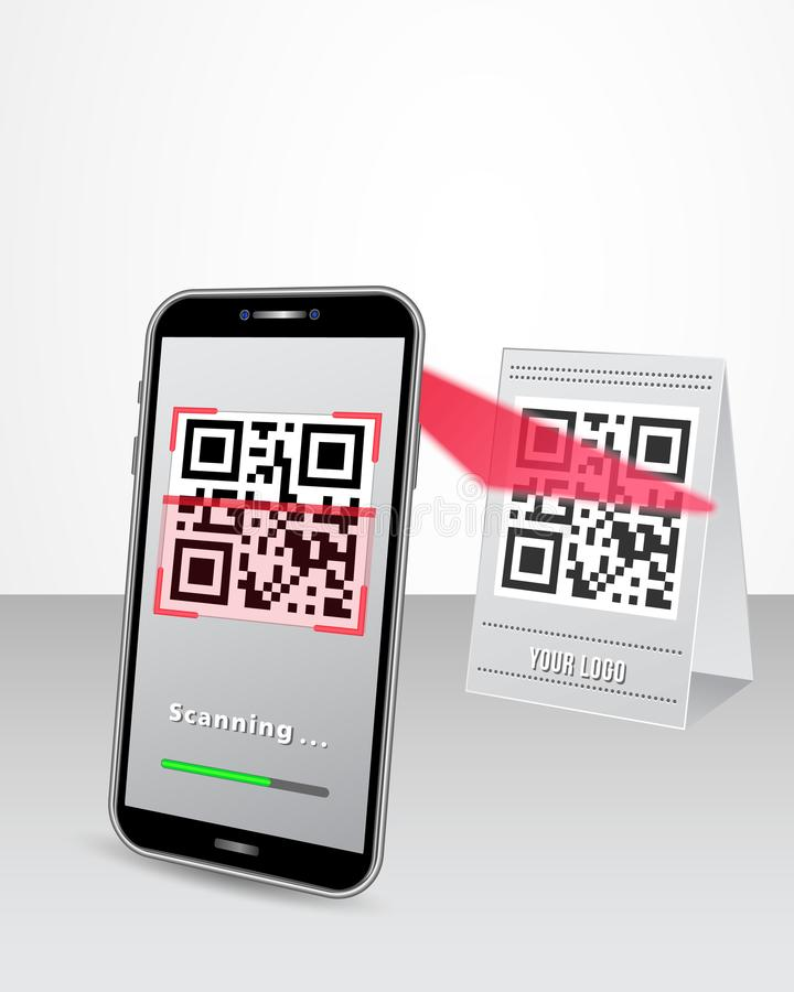 Pagamento cashless do código de QR através do telefone esperto na loja ilustração stock