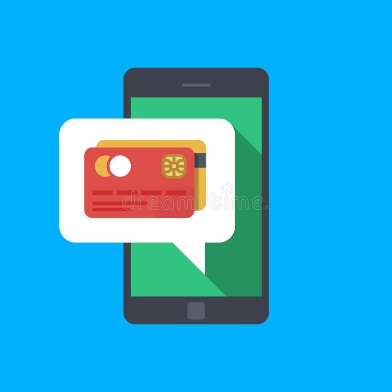 Pagamento com seu smartphone Entregue guardar o smartphone com bolha do discurso e o cartão de crédito na tela Comércio eletrónic ilustração royalty free
