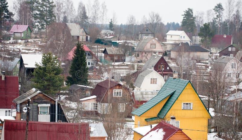 Pagamento da dacha do subúrbio em Rússia foto de stock