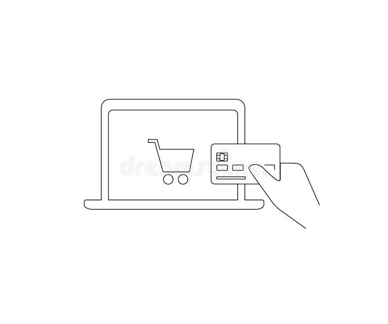 Pagamento dalla carta di credito via Internet illustrazione vettoriale
