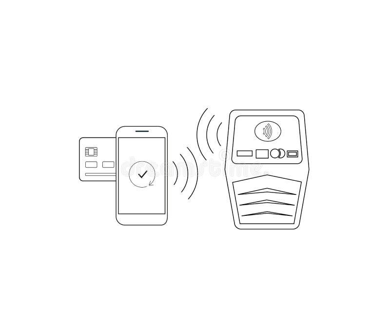 Pagamento dallo smartphone via nfc illustrazione di stock