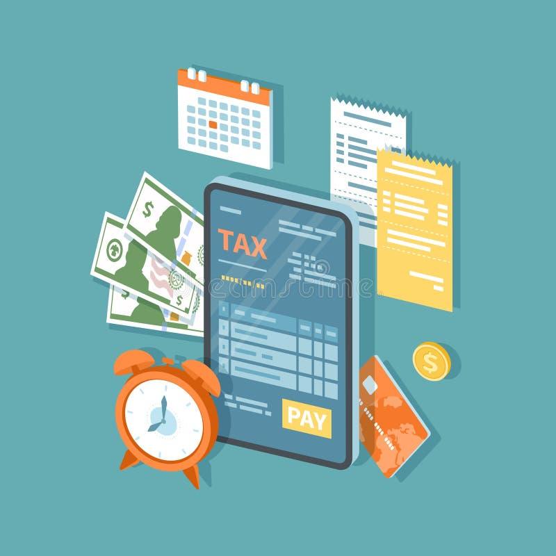 Pagamento de imposto em linha atrav?s do telefone O telefone celular com formul?rio de imposto na tela e o pagamento abotoam-se c ilustração do vetor