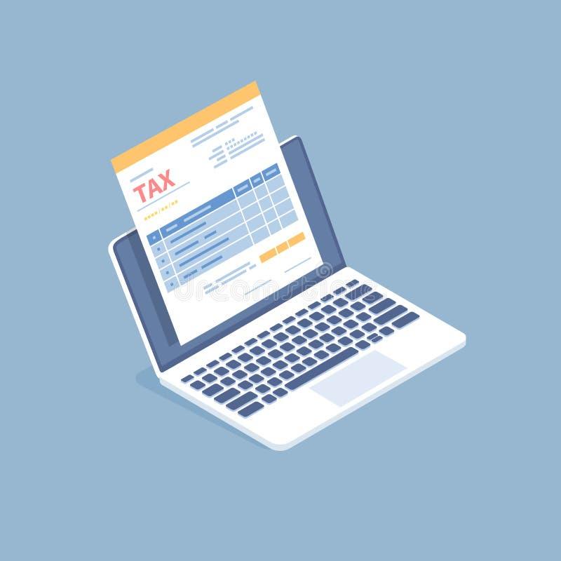 Pagamento de imposto em linha, contabilidade, contabilidade Formulário de imposto em uma tela do portátil O governo, impostos est ilustração stock