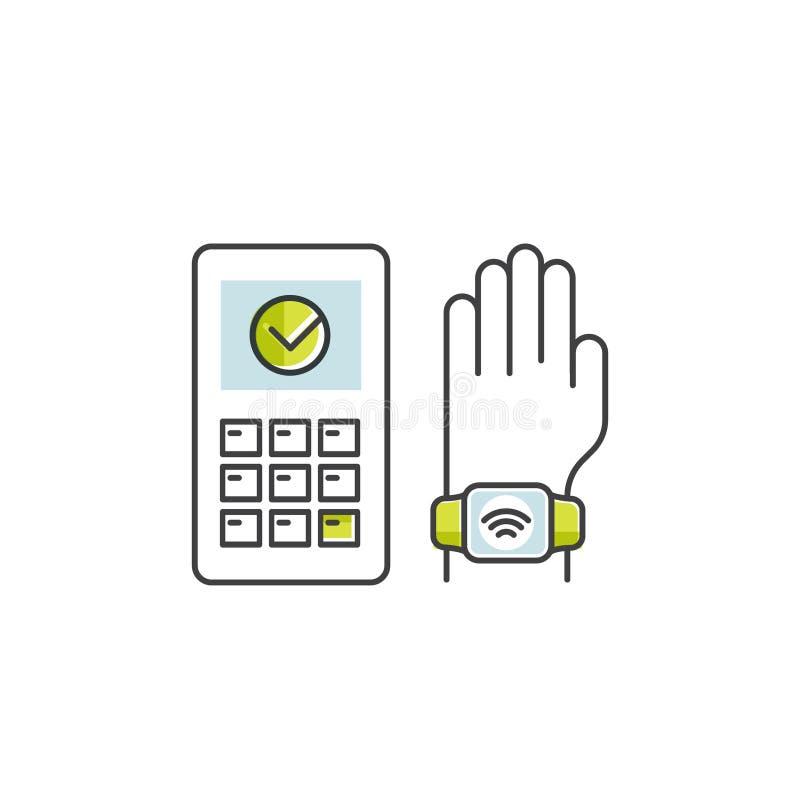 Pagamento de NFC feito através do relógio Mão que guarda o cartão de microplaqueta Pague ou fazendo uma compra maneira sem contat ilustração do vetor