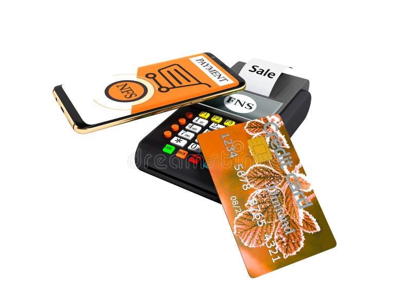 Pagamento del NFS dal telefono con la carta di credito arancio sulla rappresentazione del Posizione-terminale 3D della carta di p royalty illustrazione gratis