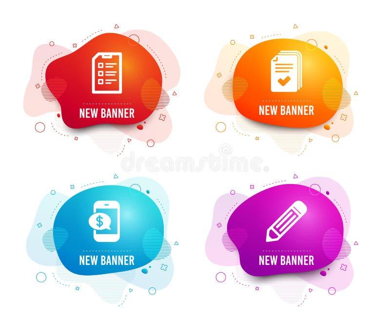 Pagamento del telefono, della dispensa ed icone della lista di controllo Segno della matita L'esempio dei documenti, la paga mobi illustrazione vettoriale