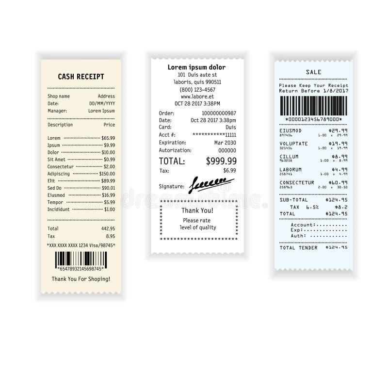 Pagamento della ricevuta o controllo dei contanti con i prezzi dall'icona di vettore del negozio illustrazione vettoriale