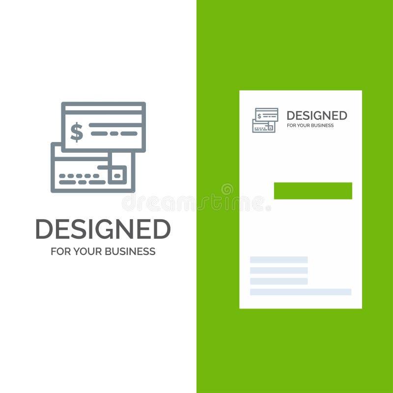 Pagamento direto, cartão, crédito, débito, Grey Logo Design direto e molde do cartão ilustração do vetor