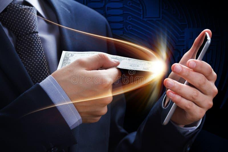 Pagamento, donazione, rete, contanti e cryptocurrency online di concetto E-banking e commercio elettronico Premio nella lotteria, fotografie stock libere da diritti