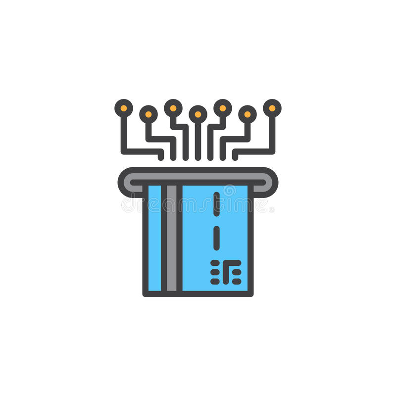 Pagamento eletrônico com linha plástica ícone do cartão, sinal enchido do vetor do esboço, pictograma colorido linear isolado no  ilustração stock