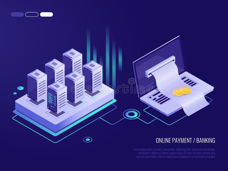 Pagamento em linha no portátil, grande conta para o pagamento que sai da tela do portátil Oncept do ¡ de Ð da transação ilustração do vetor