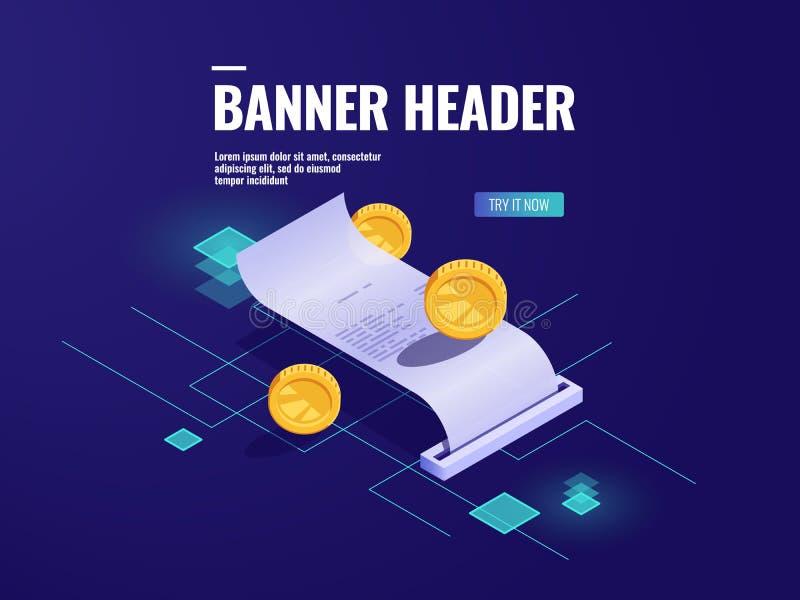Pagamento em linha, vetor isométrico do ícone do recibo de papel, imposto com moeda, conceito da transação do dinheiro, tecnologi ilustração stock