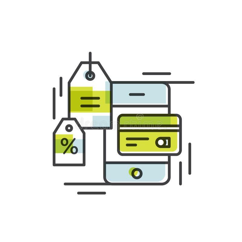 Pagamento feito através do telefone celular Pagamentos de NFC dos ícones do conceito em um estilo liso Pague ou fazendo uma compr ilustração royalty free