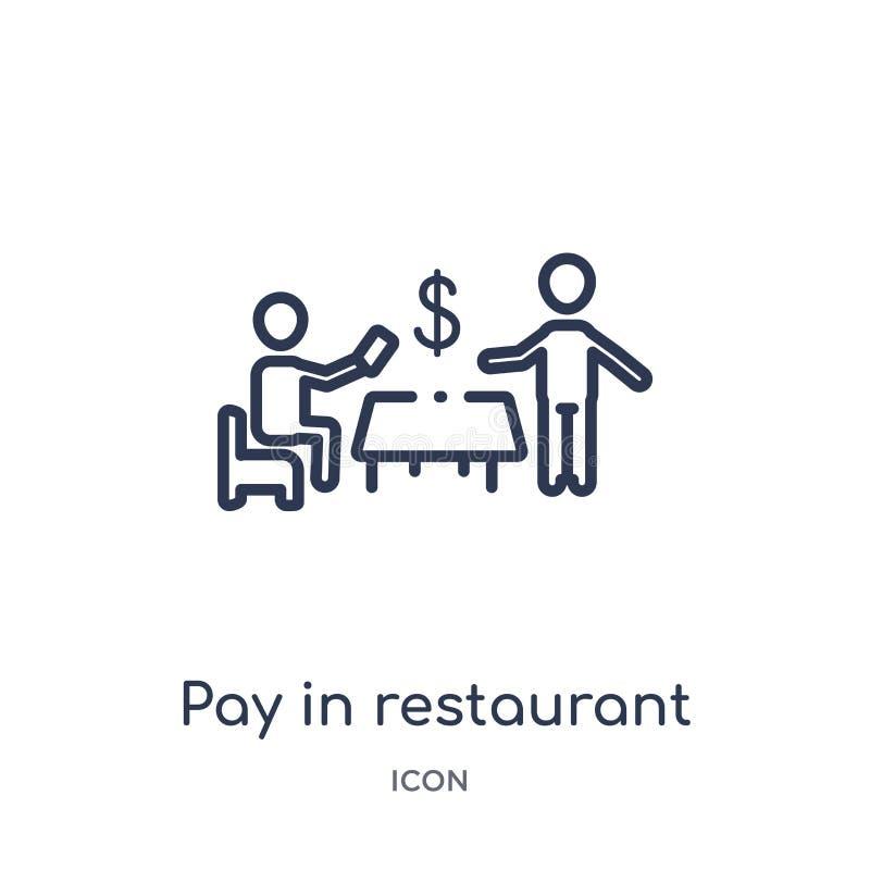 Pagamento linear no ícone do restaurante da coleção do esboço dos seres humanos Linha fina pagamento no ícone do restaurante isol ilustração do vetor