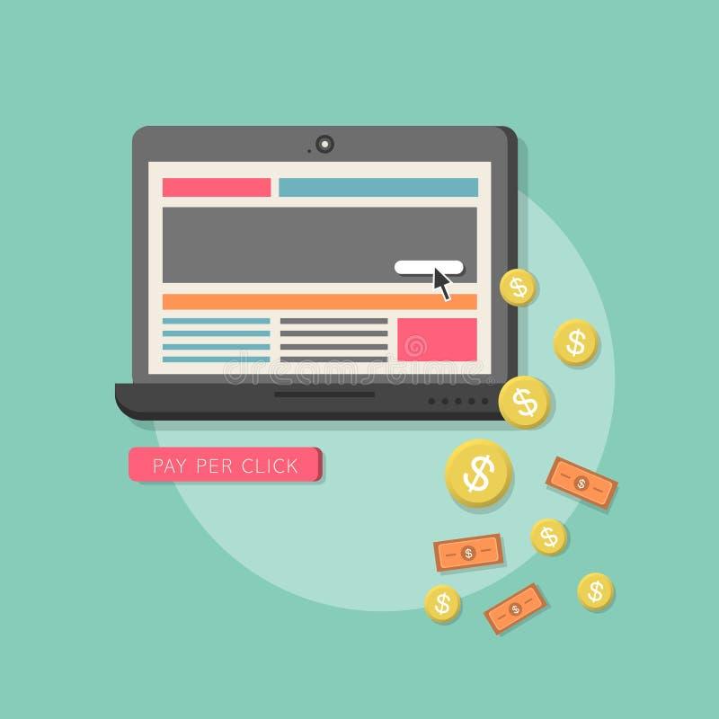 Pagamento liso do mercado da Web do projeto pelo clique ilustração stock
