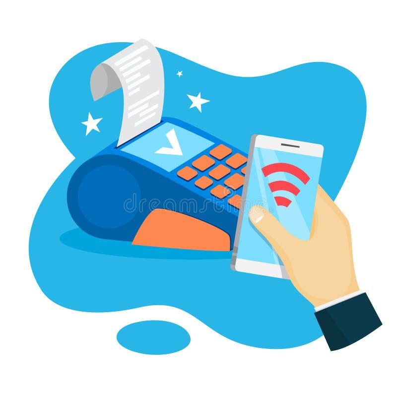 Pagamento móvel Transação do dinheiro de Digitas através do dispositivo ilustração do vetor