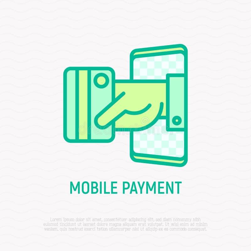 Pagamento m?vel: a m?o p?e para fora o cart?o de cr?dito do smartphone Ilustra??o moderna do vetor ilustração royalty free