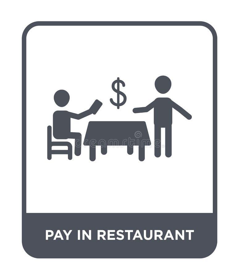 pagamento no ícone do restaurante no estilo na moda do projeto pagamento no ícone do restaurante isolado no fundo branco pagament ilustração royalty free