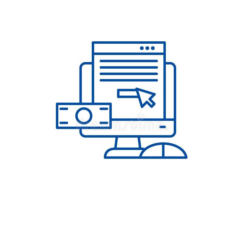 Pagamento pela linha conceito do clique do ícone Pagamento pelo símbolo liso do vetor do clique, sinal, ilustração do esboço ilustração do vetor