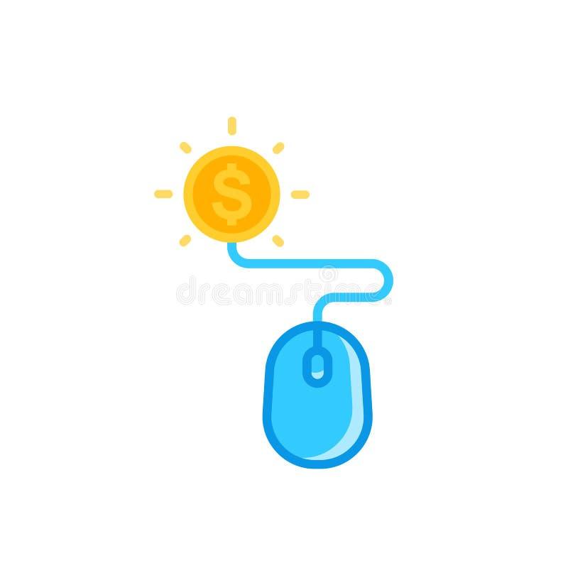 Pagamento pelo ícone do clique com rato e moeda ilustração do vetor