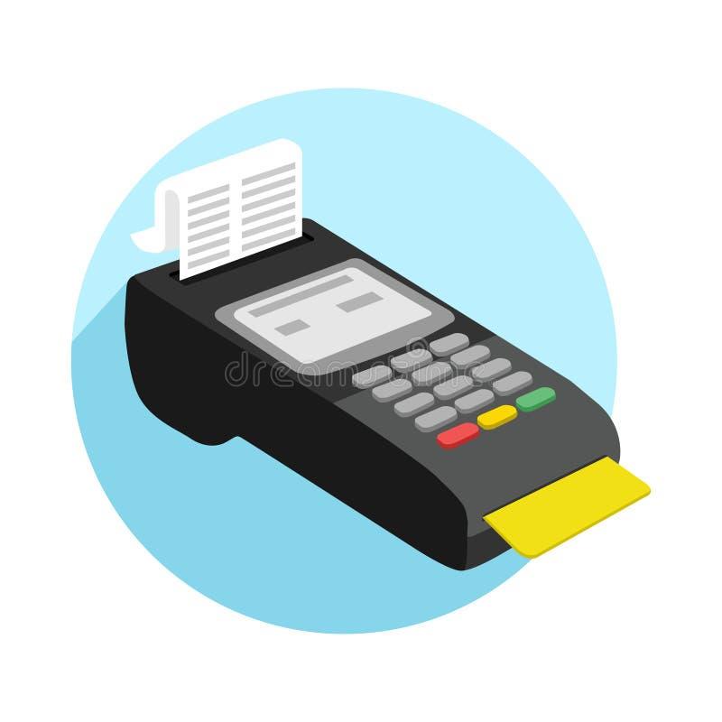 Pagamento pelo cartão de crédito usando o ícone terminal da posição Ilustra??o do vetor ilustração royalty free