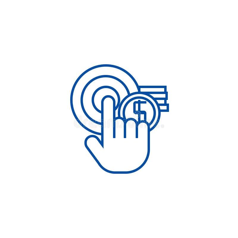 Pagamento pelo clique, linha de mercado em linha conceito do ícone Pagamento pelo clique, símbolo liso de mercado em linha do vet ilustração stock
