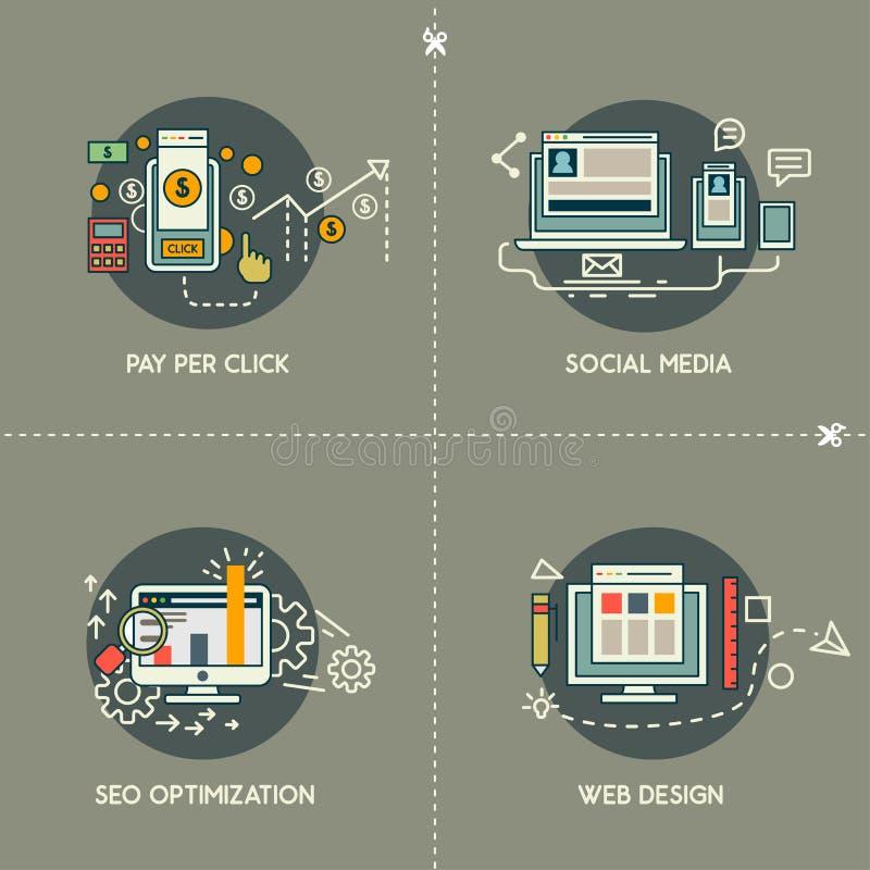 Pagamento pelo clique, meio social, design web, SEO Optimization ilustração stock