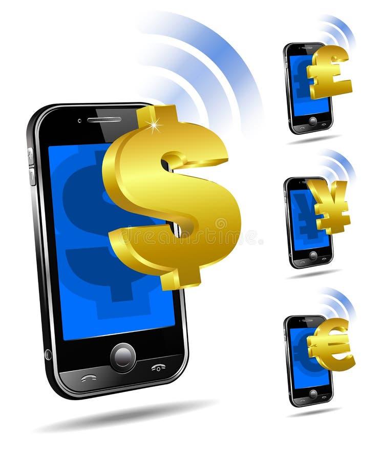 Pagamento pelo móbil, telefone esperto da pilha ilustração stock