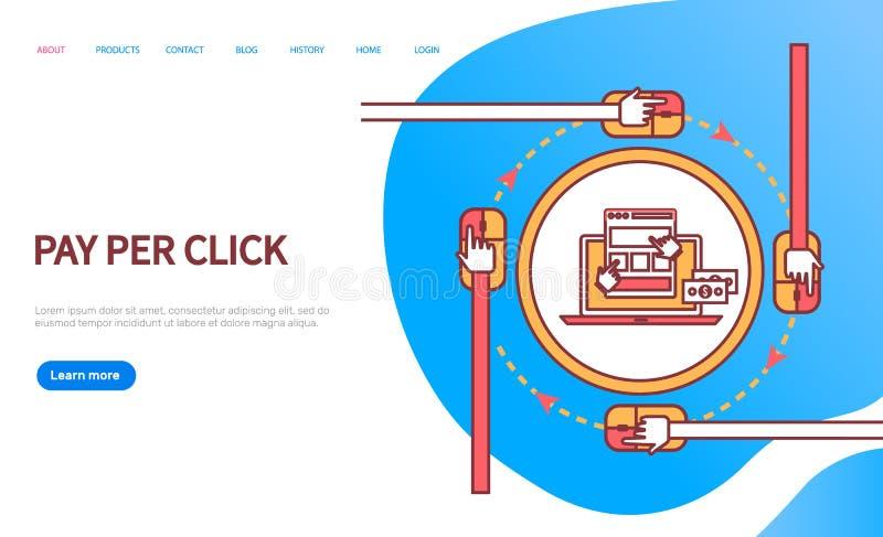 Pagamento pelo vetor em linha do computador da Web da ordem do clique ilustração royalty free