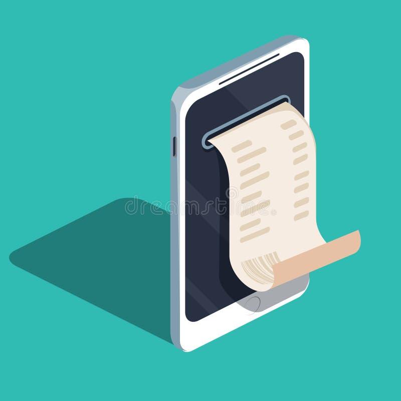 Pagamento per mezzo del telefono cellulare, borsa di pagamenti online elettronico, mobile, smartphone con l'incasso illustrazione vettoriale