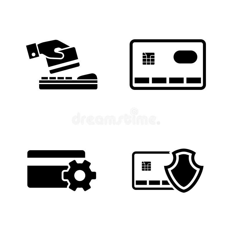 Pagamento seguro Ícones relacionados simples do vetor ilustração stock
