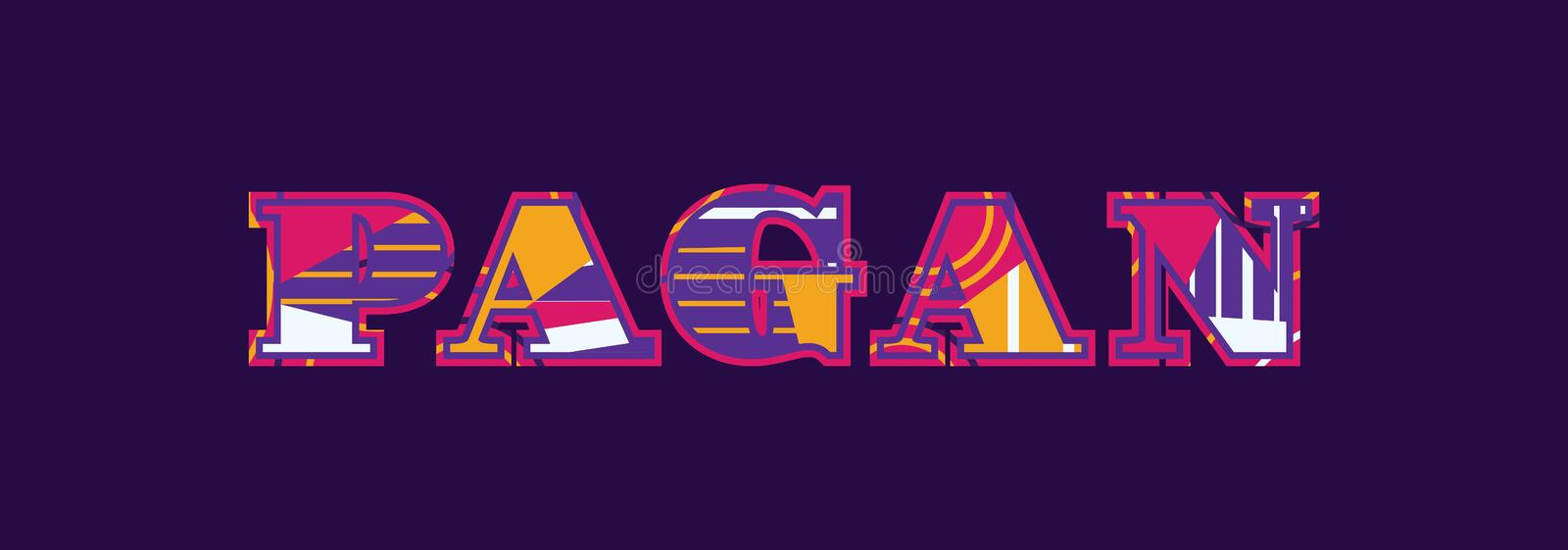 Pagan Concept Word Art Illustration. The word PAGAN concept written in colorful abstract typography. Vector EPS 10 available royalty free illustration