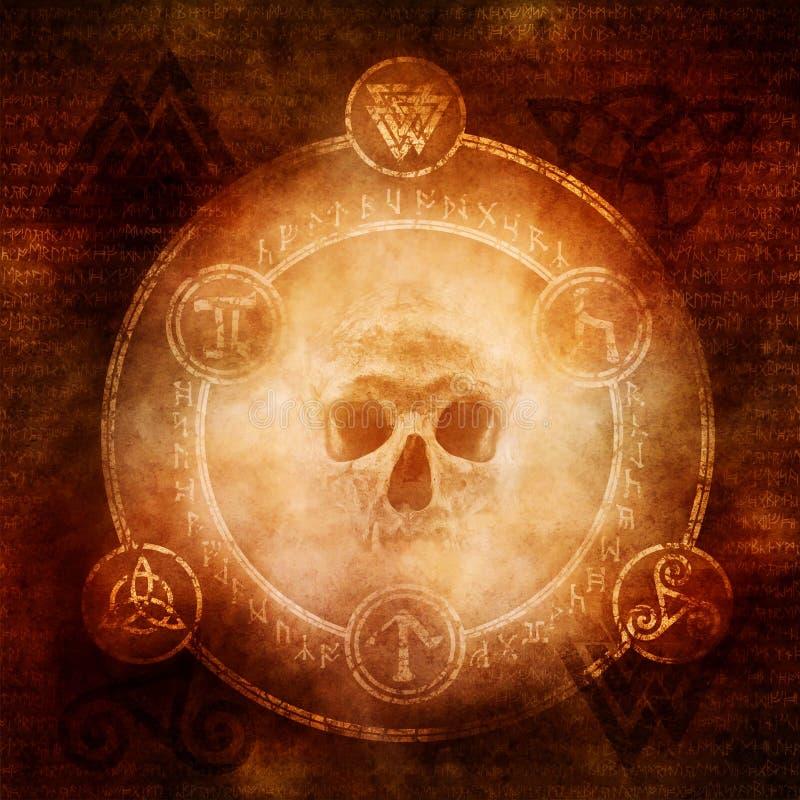 Pagan Dark Magic. Design with a sinister skull materialising within a magic circle of elaborate pagan and runic symbols stock image