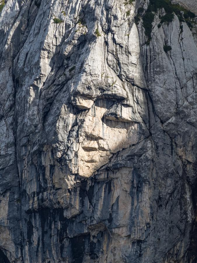 The Pagan Girl Ajdovska deklica a face in the northern wall of Prisank mountain. Created by rock features, Slovenia stock images