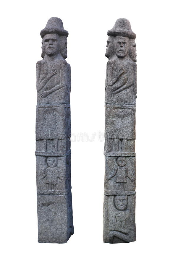 Pagan idol from Ukraine. Copy of pagan idol from Zbruch river, Ukraine. Two sides stock photography