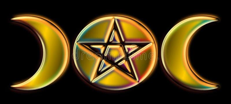 Pagan Moon Phases - Gold Rainbow )O( royalty free illustration