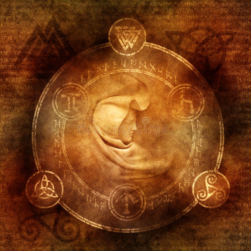 Pagan Sorceress. With robed and hooded female figure enclosed within a magic circle of mysterious pagan and runic symbols royalty free stock photography