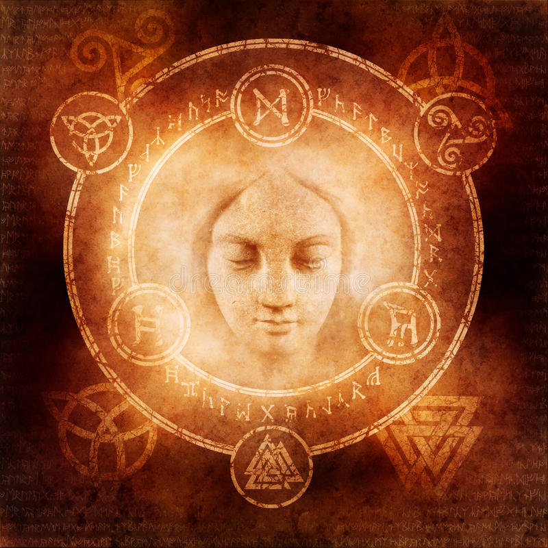 Pagan White Magic. Design with a mysterious female face materialising within a magic circle of elaborate pagan and runic symbols royalty free stock image