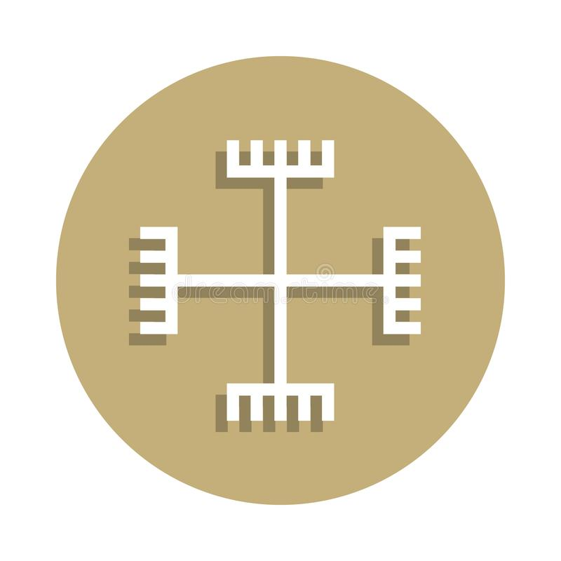 Paganism hands of God sign icon in badge style. One of religion symbol collection icon can be used for UI, UX royalty free stock photography
