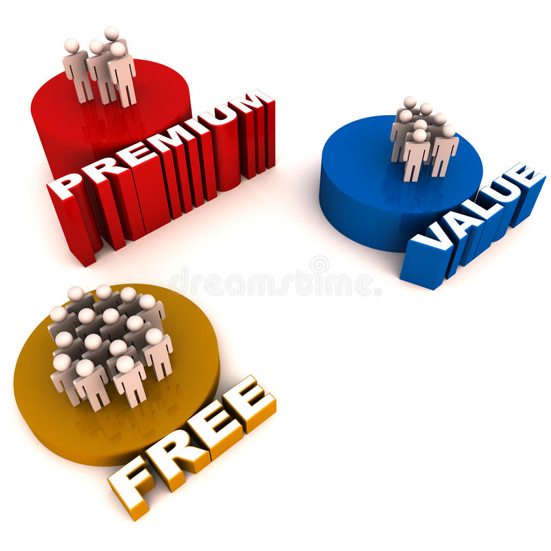 Pagato e servizi gratuiti royalty illustrazione gratis