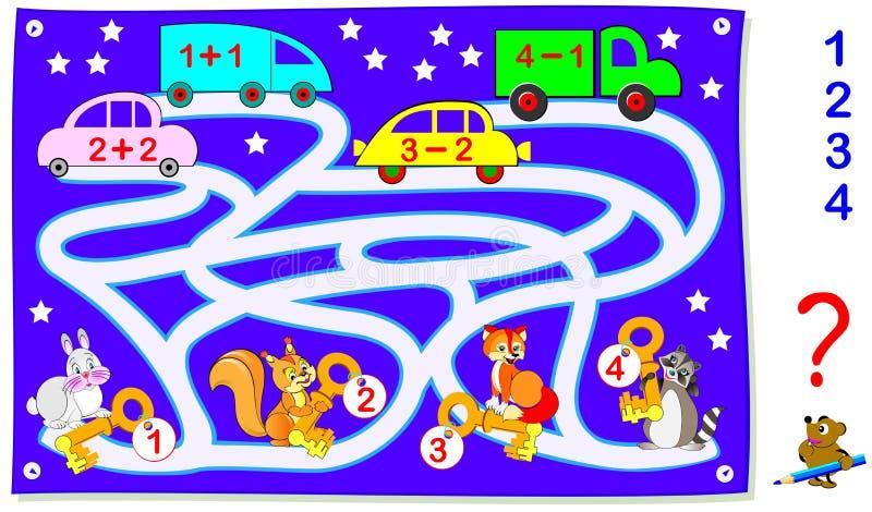 Page éducative avec des exercices pour des enfants sur l'addition et la soustraction Aidez les animaux à trouver leurs voitures D illustration libre de droits