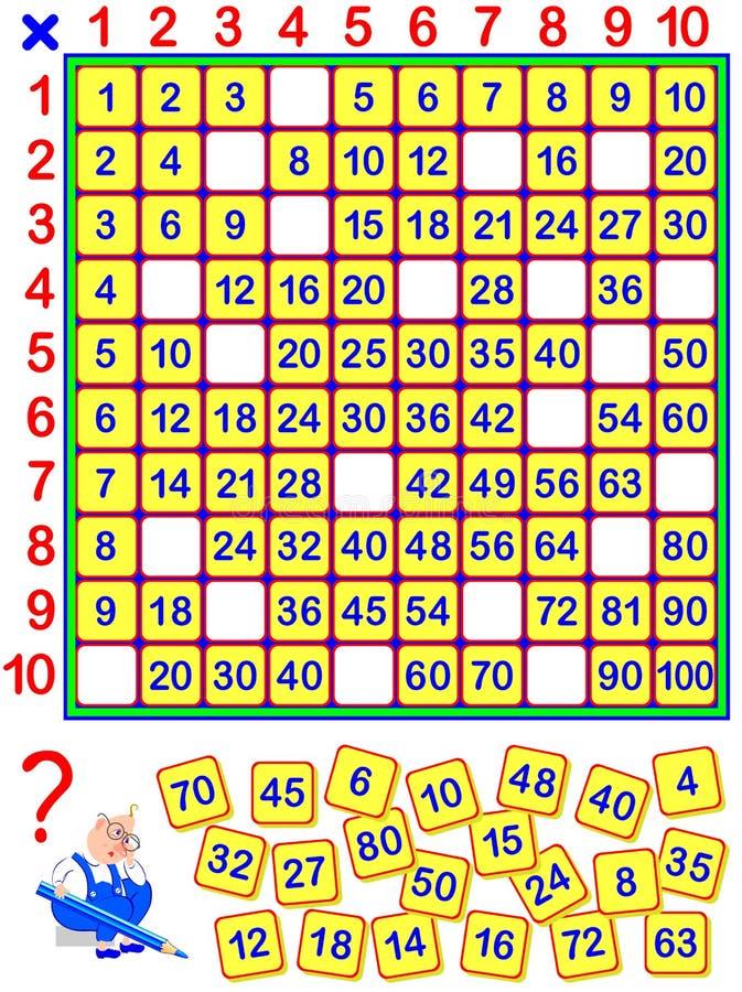 Page éducative pour des enfants Quelques nombres sont tombés hors de la table de multiplication Écrivez-les dans les endroits cor illustration stock