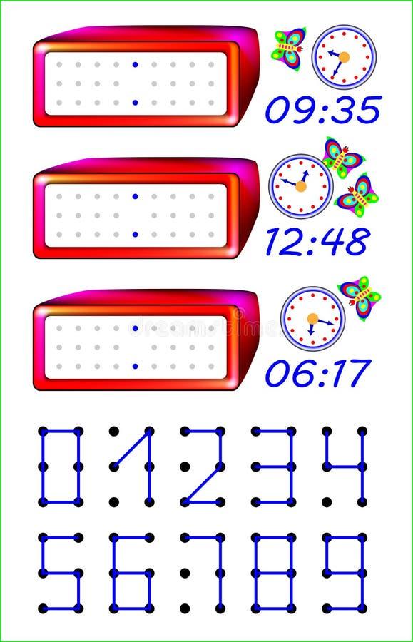 Page éducative pour les enfants en bas âge Devez joindre les points avec des lignes droites et écrire le temps correct sur les mo illustration stock