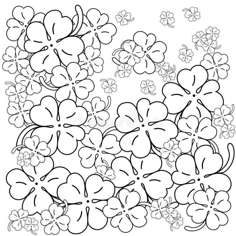 Page adulte de livre de coloriage Quatre trèfles de lame Illustration tirée par la main de vecteur illustration de vecteur